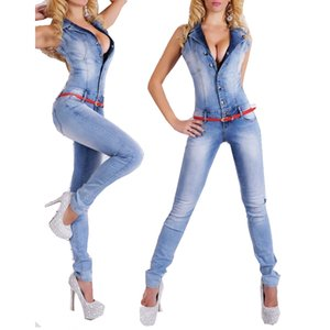 All'ingrosso 2017 NUOVI jeans denim lunghi sexy della tuta per le donne estate profondo scollo av pagliaccetti tute delle donne tuta 88