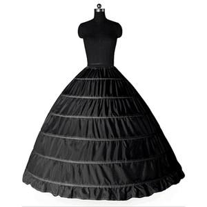 Ball Gown Large Petticoats 2017 New Black White 6 hoops Sottogonna Sposa Abito formale Crinolina Plus Size Accessori da sposa