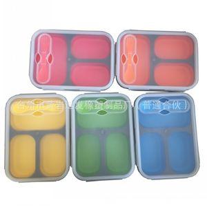 Retângulo sílica gel lancheira com colher garfo estudante Bento Box Resuable Eco Friendly insípido Silicone lancheiras moda 22xf B R