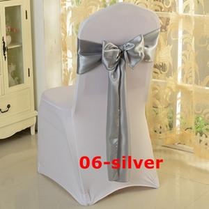 Freie Verschiffen-Silber-Satin-Stuhl-Schärpe verwendet für Hochzeit Spandexstuhlabdeckung
