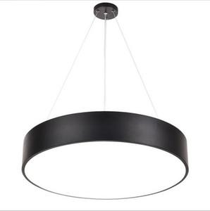 LED moderne Minimalisme Pendant Light Round Lustres Noir Éclairage d'études Bureau Chambre Salon AC85-265V Chambre