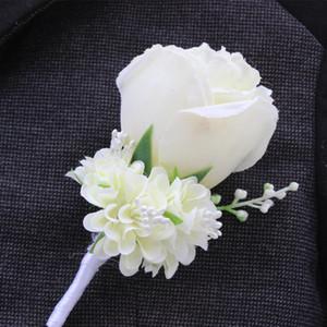 Оптовая свадебная бутоньерка в Слоновой Кости фиолетовый белый Blue10 цвет Aavailable жених Pin брошь Роза корсаж костюм цветочные аксессуары