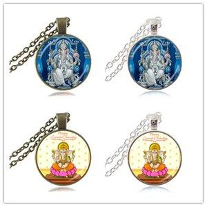 Lord Ganesh Ganesha Halskette God of Fortune Anhänger Hindu Elefant Halskette Buddha Meditation spirituelle Kunst Schmuck rosa Lotus Om Halskette