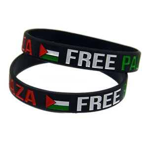 1 pc tinta preenchida logotipo Salvar Gaza Free Palestine Silicone pulseira com bandeira cor preta e transparente