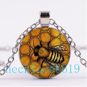 10Pcs Bee Queen Collier, pendentif, cadeau de Noël, cadeau d'anniversaire, collier en verre Cabochon, argent / noir bijoux de mode R-960