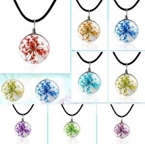 Plante flores secas ornamentos bola colar de gesso tempo handmade gem de vidro DIY personalidade criativa YP066 Artes e Ofícios pingente com corrente