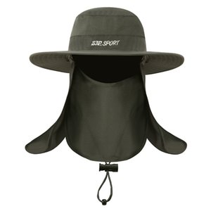 Ancho grande del borde de pesca para hombre Bucket Cap UV Sombrero de sol al aire libre respirable del verano cuello de la cara Protección anti mosquitos Hat para Pescador Ejército Verde