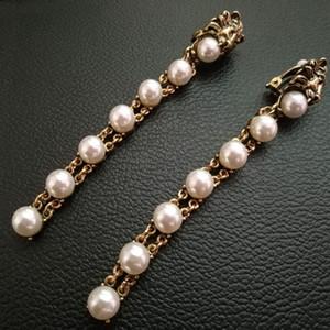 Nuevo Barroco Vintage Metal lion Head Clip pendientes para las mujeres Joyería de moda 2017 Pendientes de perlas colgante Brincos nupcial Ear cuff clips femeninos