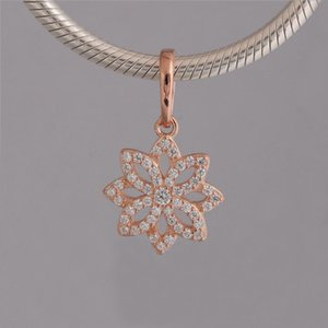 С стерлинговым подлинным Pandora Charms Silver Ice 925 розовые бусины цветы Charm Gold 2021 новый CZ Fit Hangle Dazzling браслет ожерелье GFSOD