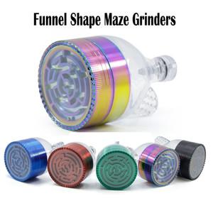 Funnel Maze Grinders New Style Multi Colori Lega di zinco Herb Grinders Diametro 52mm 7 Colori 3 Strati Grinders Metal Grinder Rainbow Color