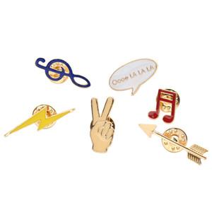 Оптово Личи 6 шт / комплект милой мультфильм Брошь Pin Эмаль Примечание рубашка Pin отворот воротник Pin для женщин ювелирных изделий