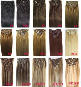 """ZZHAIR 16 """"-32"""" 100% brasiliano capelli umani remy clip in / su estensione dei capelli umani 8 pz set testa piena 100g 120g 140g"""