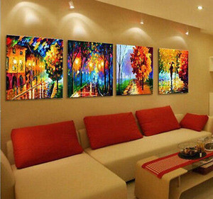 Wholesale cheap Abstract 100% hand-painted   Art Oil Painting Wall Decor canvas 4pc set