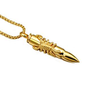 MCW Steampunk من الذهب / فضي اللون التيتانيوم المقاوم للصدأ العقرب الحيوان رصاصة قلادة القلائد للرجال مجوهرات