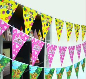 Decoración de cumpleaños Bandera de colores Bandera de triángulo Cadena de papel Flagpipe Elevar Color de dibujos animados Bandera de triángulo Pull Flower BF008 orden de la mezcla