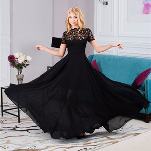Wholesale- Sexy Lace Embroidery Women Long Dress Vintage Chiffon Pleated Evening Formal Party Dress Prom Gown