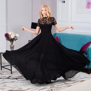 Venda por atacado - Sexy Lace Bordado Mulheres Vestido Longo Vintage Chiffon Plissado Evening Formal Vestido De Festa Vestido De Baile
