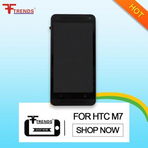 Alta qualidade display lcd + touch screen digitizerr quadro de montagem para htc one m7 preto prata com ferramentas de reparo