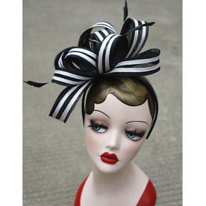 Zubehör Damen Vintage Sinamay Fascinator Cocktail Party Stirnband Kirche Kleid Hochzeit Kentucky Derby Hüte Stirnband T222