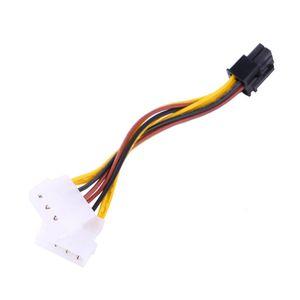 Freeshipping 10 adet / grup 2 IDE Çift 4pin IDE Erkek 6 Pin Dişi PCI-E Y IDE Güç Kablosu Adaptörü Bağlayıcı için video kartları