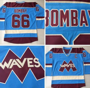 Blau 66 Gordon Bombay Hockey Jerseys billig sehr selten keine Reserve Gordon Bombay Gunner Stahl Mighty Ducks Wellen Hockey Uniformen