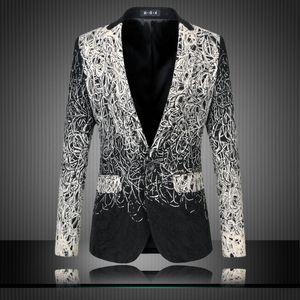 Venta al por mayor para hombre Blazers florales Diseños de moda Club Vintage Slim Fit Estampado de flores Blazers Vestido de fiesta de lujo trajes Terno masculino