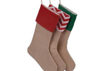 12*18inch 2017 New high quality canvas Christmas stocking gift bags Xmas stocking Christmas decorative socks bags 4543