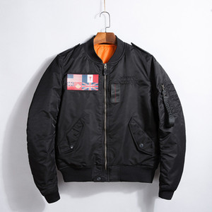 2017 Spring Fashion American Flag Negro Ma1 Bomber Jacket Hombres