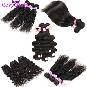 Peruvian Malaysian Brazilian Virgin Human Hair Weave Bundles Body Wave Straight Deep Kinky Curly Water Wave Hair Extensions Natural Black