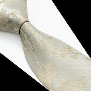 T095 Brand New Silver Ivory Cream Floral Solide Mens Cravates Cravates 100% Soie Jacquard Woven Casual Business Formelle Costume Pour Hommes