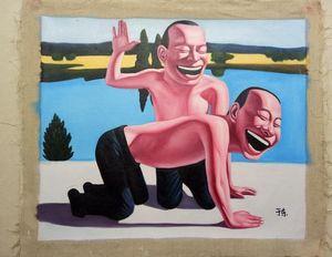 Encadré visage souriant # 003, peinture à l'huile pure Handcraft Portrait art sur toile de haute qualité pour la décoration murale dans Multi tailles