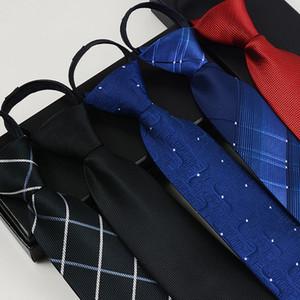 패션 넥타이 남성용 폴리 에스터 실크 넥타이 지퍼 넥타이 남성용 편리한 줄무늬 격자 무늬 그라비티 신랑 넥타이 비즈니스 베스 티드