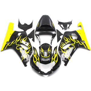 5 free gifts New ABS motorcycle Fairing Kits 100% Fit For SUZUKI GSXR600 GSXR750 01 02 03 K1 R600 R750 2001 2002 2003 nice Yellow flame 109