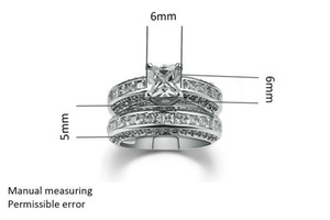 Jewelry 10kt white gold filled Topaz Princess cut simulated Diamond Wedding Ring set gift with box