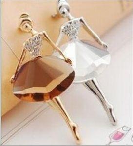 الشحن مجانا الاكسسوارات بلينغ جوهرة بروش الباليه فتاة أزياء أنيقة بروش شعبية كريستال حجر الراين دبوس الجسم مجوهرات هدية لفتاة
