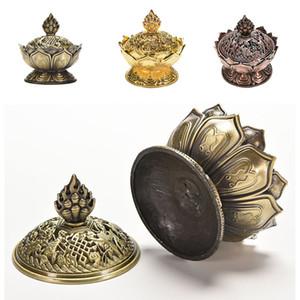 Toptan-Kutsal Tibet Lotus Tütsü Brülör Alaşım Bronz Mini Tütsü Brülör Tütsü Metal Zanaat Ev Dekor Ücretsiz Kargo