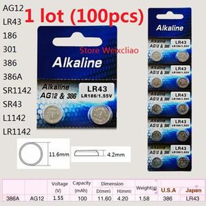 100 قطع 1 وحدة AG12 LR43 186 301 386 386A SR1142 SR43 L1142 LR1142 1.55 فولت بطاريات زر خلية البطارية القلوية شحن مجاني