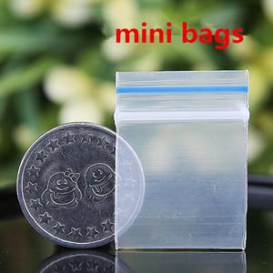 Mavi Kavrama Temizle Mini Minyatür Zip Kilit Plastik Ambalaj Çanta Gıda Şeker Takı Yeniden Kapatılabilir Kalın PE Kendinden Sızdırmazlık Küçük Paket Depolama hediye