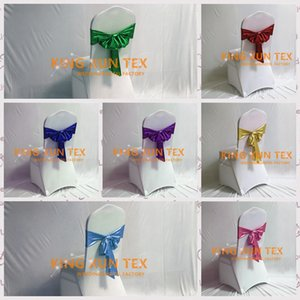 Wholesale Price Bronzing Coated Lycra Spandex Chair Band Chair Sash With Tie Bow Back For Wedding Chair Cover Decoration