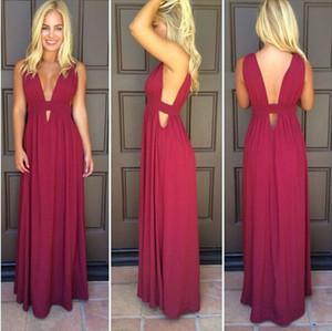Bordo Renk Balo Elbise Yüksek Kalite V Boyun Şifon Uzun Backless Örgün Akşam Parti Kıyafeti Artı Boyutu vestidos de dresses