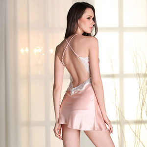 Imitation silk pajamas spring and summer ladies short paragraph Sling split sexy sling sleep dress sexy home service 7 color free shipping