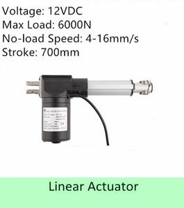 Capacité de charge élevée 600KGS / 6000N 12volt DC 28 pouces / 700mm course vitesse 4mm / s actionneur linéaire électrique de haute qualité