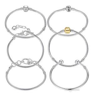 Оптовые 8 стилей 925 серебряная любовь змеиная цепь подходит Pandora браслет европейские шармы бусины женские браслеты браслеты пульсары лобстер