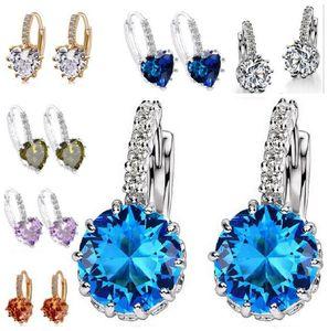 Fashion Platinum plating Stud earrings jewelry luxury Crystal Rhinestone zircon drill Hook Circle Clip earrings hot