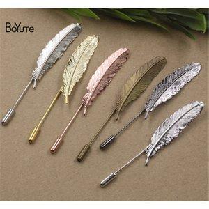 BoyuTe 20 pcs 5 cores banhado estilo vintage brooch base de moda diy jewerly descobertas pena broche pinos