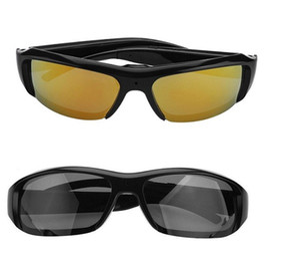 كامل HD 1080P كاميرا نظارات شمسية صغيرة DVR النظارات الشمسية كاميرا فيديو أغنية مسجل بولون نمط عدسة مكبرة DVR الذهب الأسود نظارات نظارات الكاميرا
