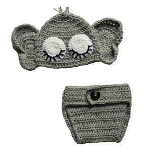 Lovely Crochet Sleeping Elephant Costume, Handmade Knit Baby Boy Girl Animal Hat con Orecchie e Pannolino Coprire Set, Infant Toddler Photo Prop