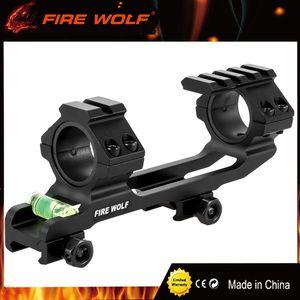 FOGO WOLF Caça Escopo Monte Anel Duplo com Nível de Bolha de Espírito Fit 20mm Picatinny Trilho para Tactical Rifle Scope 25.4 / 30mm