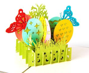 3D Greeting Card Vintage Handmade Creative Kirigami & Origami Easter painted eggshell Pop UP Gift Cards Postcard hot sale