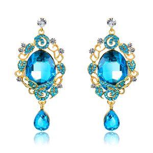 Nueva moda zafiro grande gema cristal gota cuelga los pendientes para mujeres Rhinestone de lujo flores de la hoja pendientes largos 18KGP joyería del partido regalos